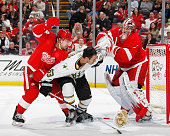Mike Riberio of the Dallas Stars gets caught up between Ruslan Salei of the Detroit Red Wings and teammate Jimmy Howard during an NHL game at Joe...