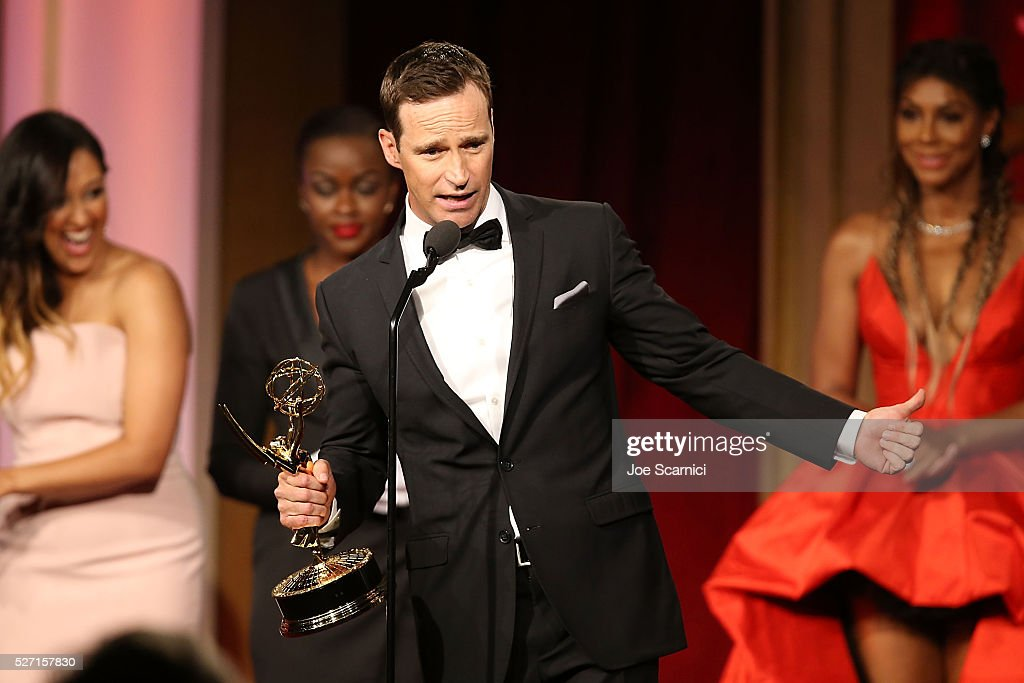 Mike Richards accepts the award for outstanding game show for The Price is Right at the 2016 Daytime Emmy Awards at Westin Bonaventure Hotel on May 1, 2016 in Los Angeles, California.