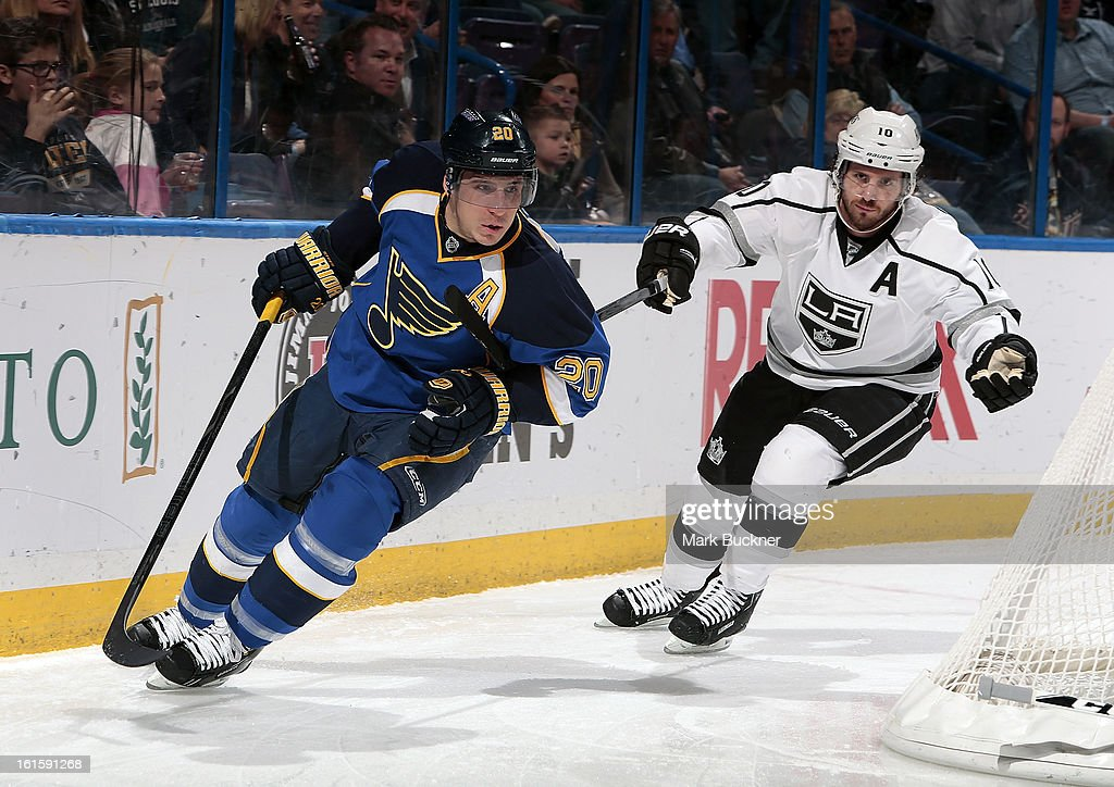 Mike Richards #10 of the Anaheim Ducks tries to slow down Alexander Steen #20 of the St. Louis Blues in an NHL game on February 11, 2013 at Scottrade Center in St. Louis, Missouri.