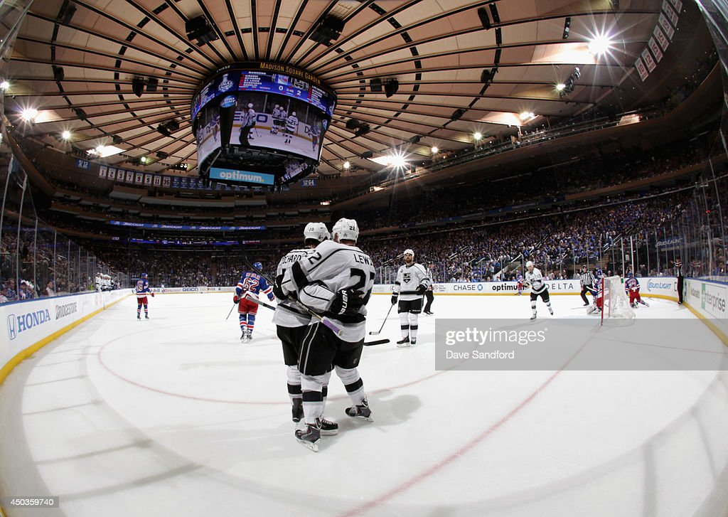 Mike Richards #10 of the Los Angeles Kings celebrates his goal with teammate <a gi-track='captionPersonalityLinkClicked' href=/galleries/search?phrase=Trevor+Lewis&family=editorial&specificpeople=543187 ng-click='$event.stopPropagation()'>Trevor Lewis</a> #22 during the second period of Game Three of the 2014 Stanley Cup Final against the New York Rangers at Madison Square Garden on June 9, 2014 in New York City.