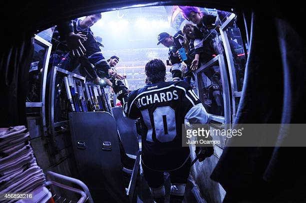 Mike Richards of the Los Angeles Kings heads out onto the ice for pre game warmups during the NHL season opener at STAPLES Center on September 8 2014...
