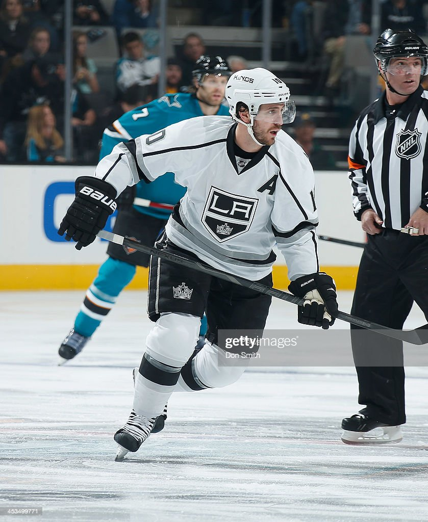 Mike Richards #10 of the Los Angeles Kings skates after the puck against the San Jose Sharks during an NHL game on November 27, 2013 at SAP Center in San Jose, California.
