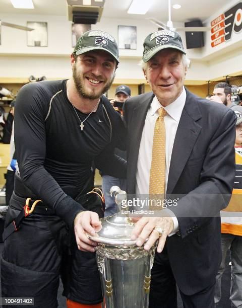 Mike Richards of the Philadelphia Flyers and Flyers Chairman Ed Snider pose with the Prince of Wales Trophy after defeating the Montreal Canadiens 42...