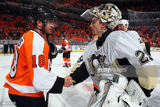 Mike Richards of the Philadelphia Flyers congratulates MarcAndre Fleury of the Pittsburgh Penguins after Game Six of the Eastern Conference...