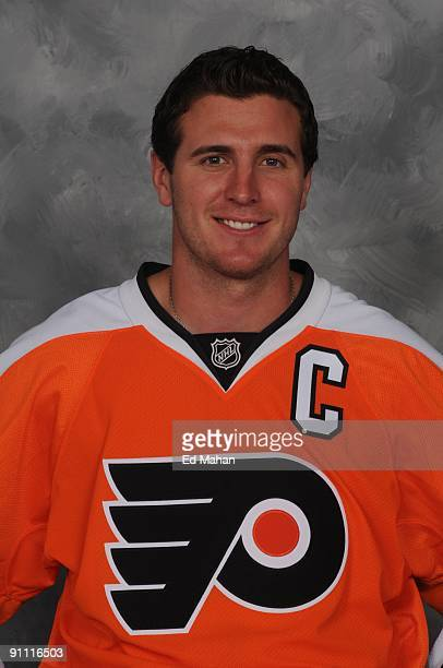 Mike Richards of the Philadelphia Flyers poses for his official headshot for the 20092010 NHL season