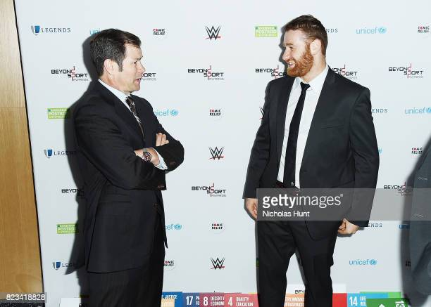Mike Richter and Sami Zayn attend the Beyond Sport Global Awards on July 26 2017 in New York City