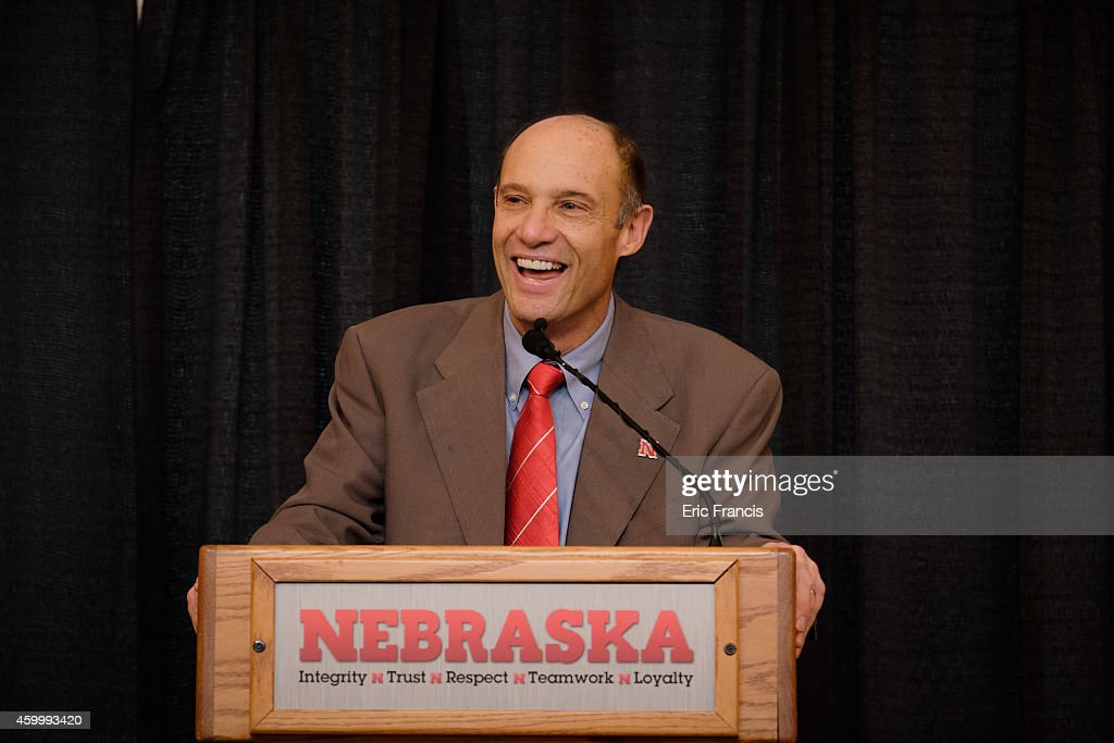 <a gi-track='captionPersonalityLinkClicked' href=/galleries/search?phrase=Mike+Riley+-+Coach&family=editorial&specificpeople=12760243 ng-click='$event.stopPropagation()'>Mike Riley</a>, newly hired head football coach at the University of Nebraska, talks with members of the media during a press conference inside Memorial Stadium December 5, 2014 in Lincoln, Nebraska.