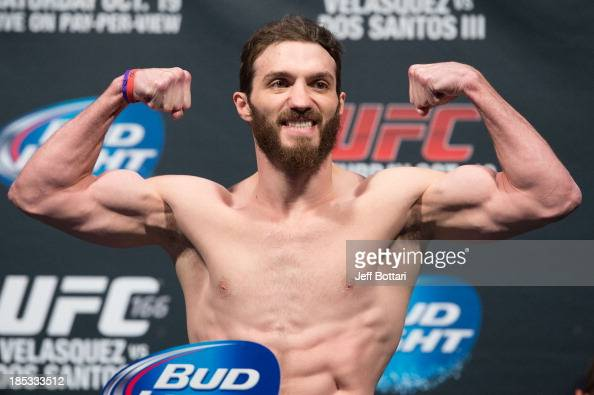 Mike Rio weighs in during the UFC 166 weighin at the Toyota Center on October 18 2013 in Houston Texas