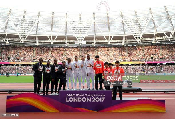 Mike Rodgers Justin Gatlin Jaylen Bacon and Christian Coleman of the United States silver Chijindu Ujah Adam Gemili Daniel Talbot and Nethaneel...
