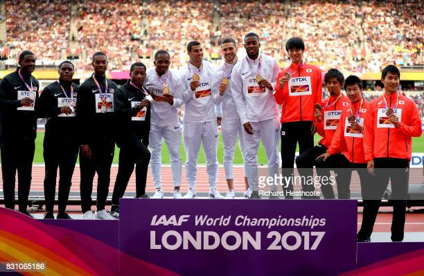 Mike Rodgers Justin Gatlin Jaylen Bacon Christian Coleman of the United States silver Chijindu Ujah Adam Gemili Daniel Talbot Nethaneel MitchellBlake...