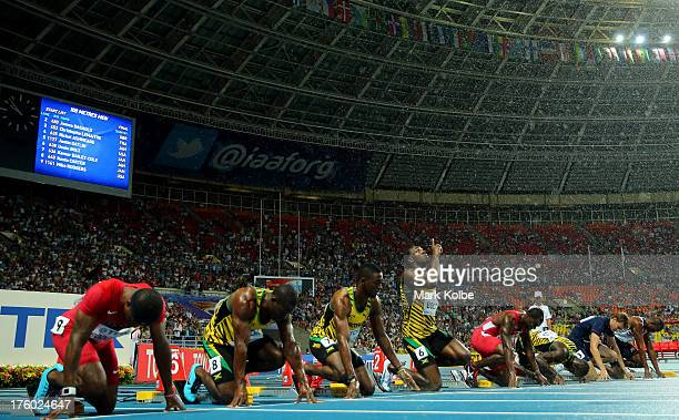 Mike Rodgers of the United States Nesta Carter of Jamaica Kemar BaileyCole of Jamaica Usain Bolt of Jamaica Justin Gatlin of the United States Nickel...