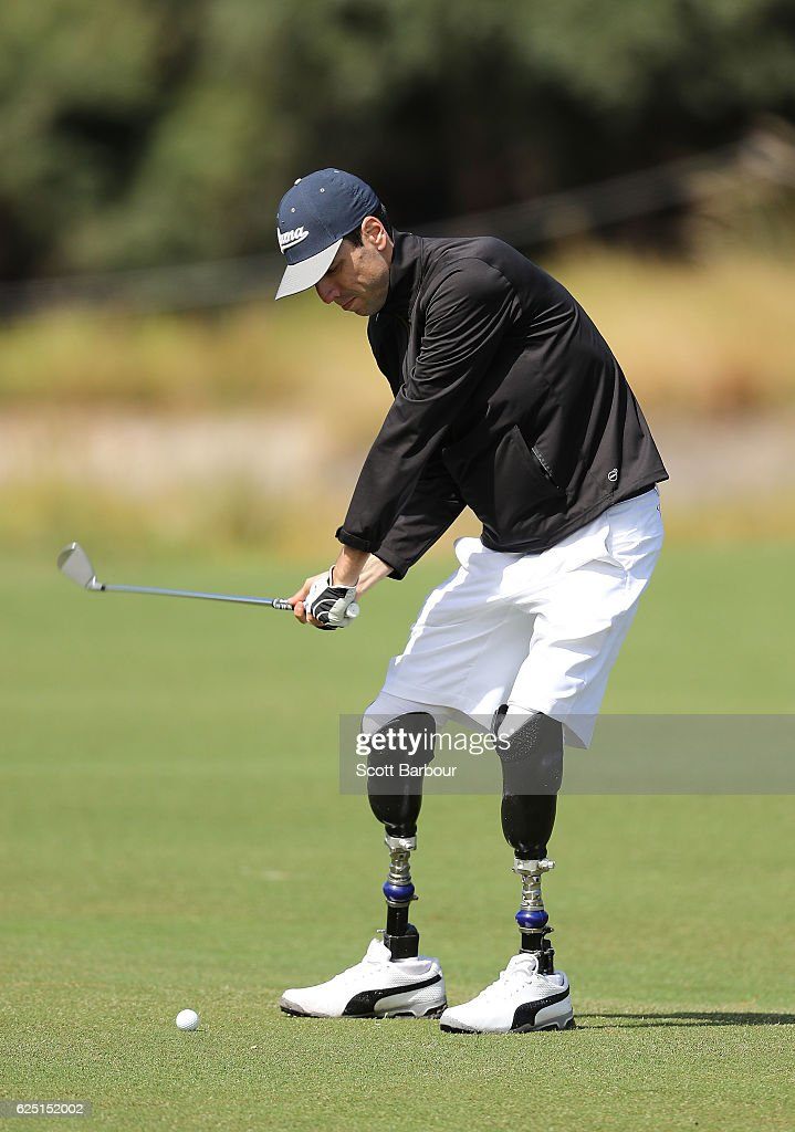 Mike Rolls plays a shot on Pro-Am Day ahead of the World Cup of Golf at Kingston Heath Golf Club on November 23, 2016 in Melbourne, Australia. At the age of 18, he contracted meningococcal septicaemia while on a football trip. His injuries were extensive; he suffered multiple amputations and severe internal injuries.