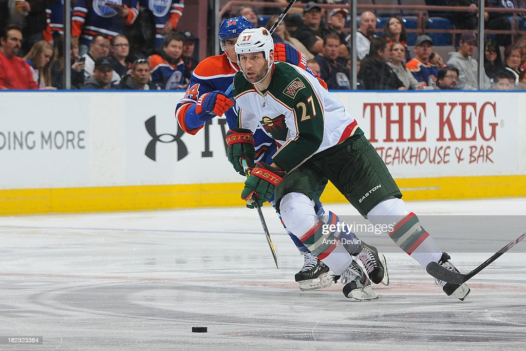 Mike Rupp #27 of the Minnesota Wild enters the offensive zone in a game against the Edmonton Oilers on February 21, 2013 at Rexall Place in Edmonton, Alberta, Canada.