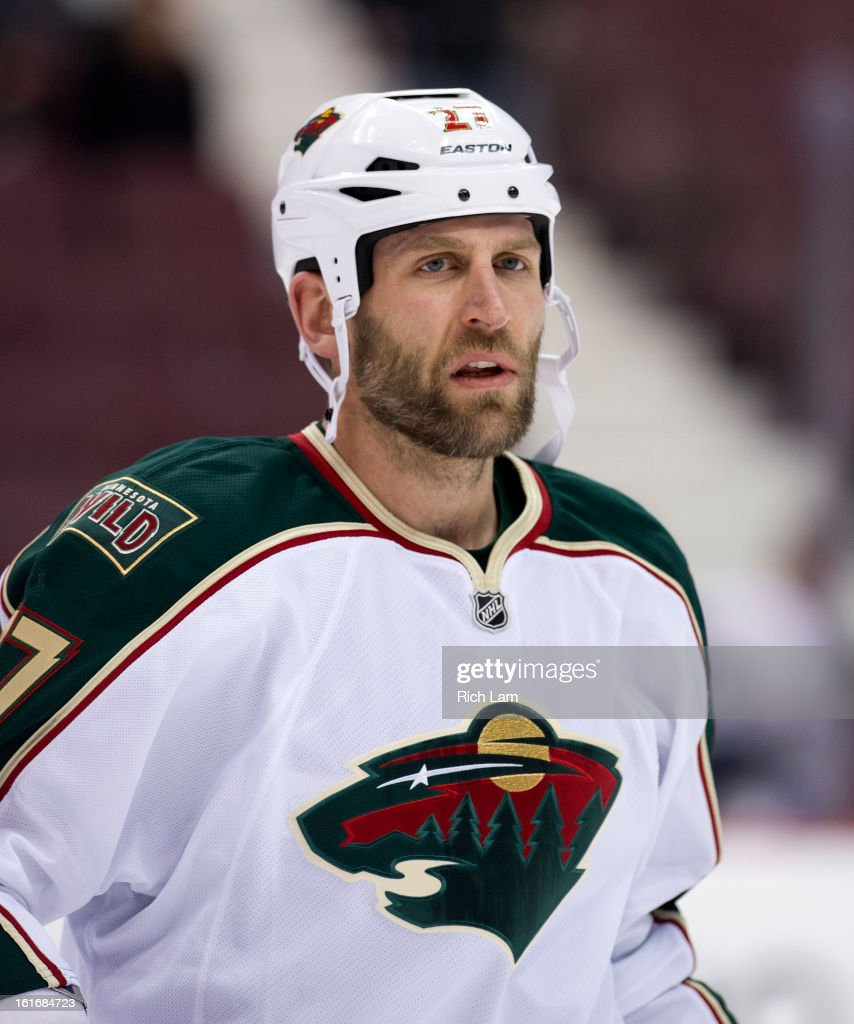 Mike Rupp #27 of the Minnesota Wild skates during the pre-game warm up prior to NHL action against the Vancouver Canucks on February 12, 2013 at Rogers Arena in Vancouver, British Columbia, Canada.