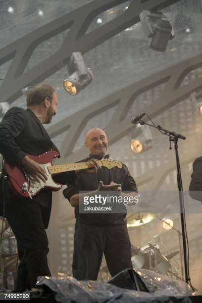 Mike Rutherford and Phil Collins Tony Banks of the reunited band Genesis perform during a concert at the Olympiastadion on July 03 2007 in Berlin...
