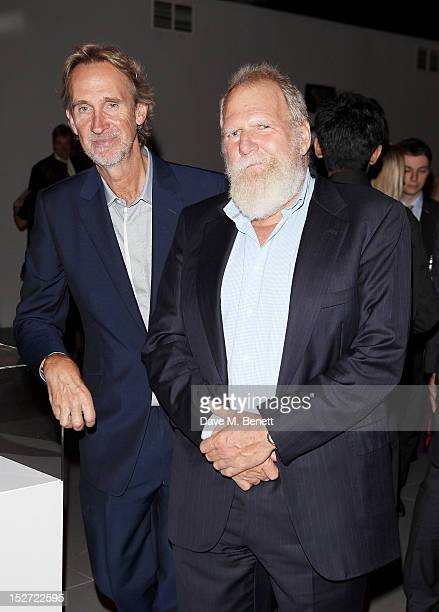 Mike Rutherford and Tony Smith manager of Genesis arrive at the EMI Music Sound Foundation fundraiser at Somerset House on September 24 2012 in...