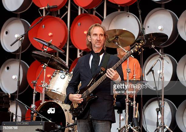 Mike Rutherford of Genesis performs on stage during the Live Earth London concert at Wembley Stadium on July 7 2007 in London England Live Earth is a...