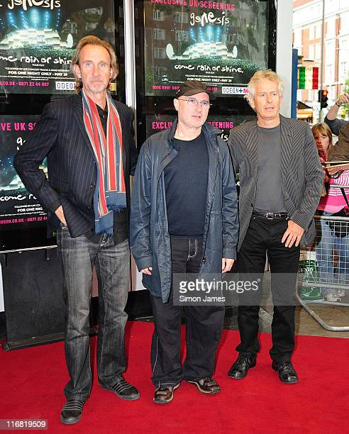 Mike Rutherford Phil Collins and Tony Banks of Genesis attend the 'When In Rome 2007' Genesis DVD Premiere Kensington Odeon on May 20 2008 in London...