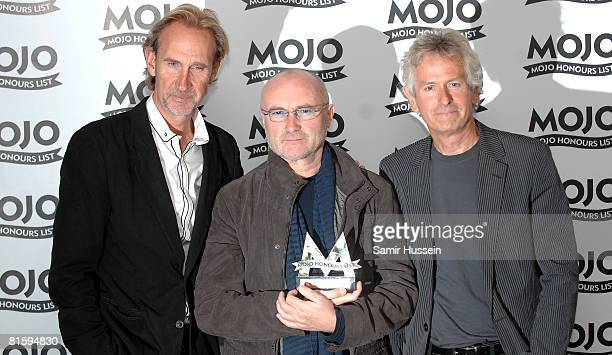 Mike Rutherford Phil Collins and Tony Banks of Genesis pose with their 'MOJO Lifetime Achievement Award' at The Mojo Honours List 2008 Award Ceremony...
