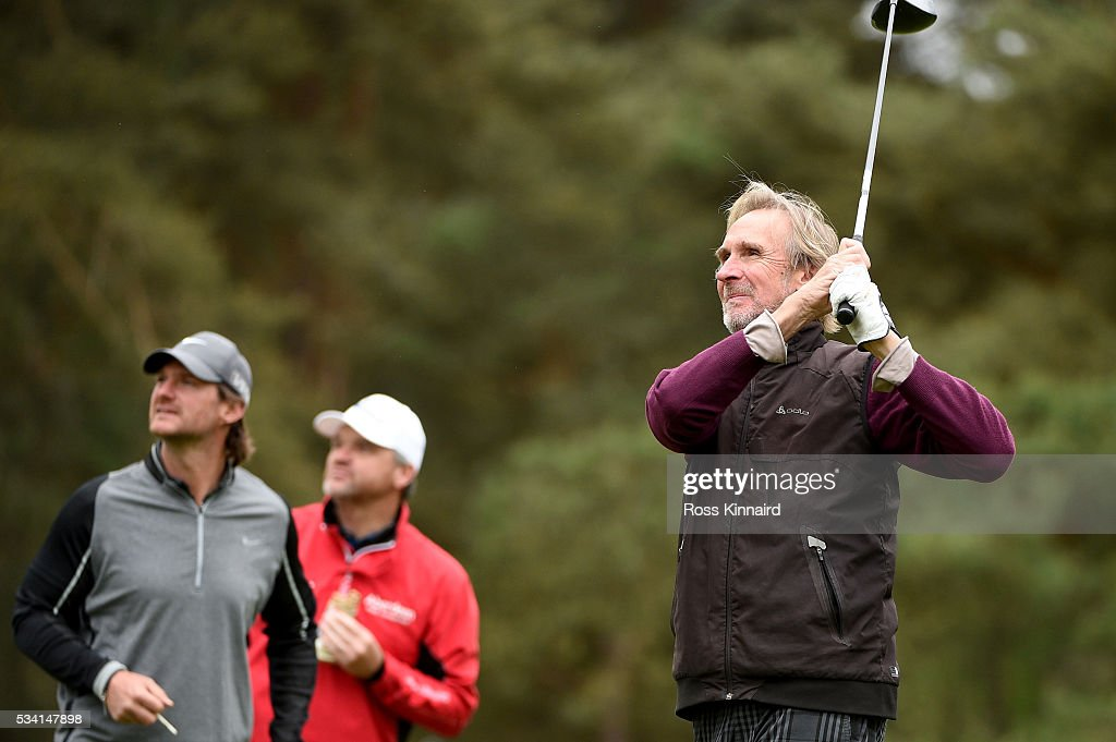 <a gi-track='captionPersonalityLinkClicked' href=/galleries/search?phrase=Mike+Rutherford&family=editorial&specificpeople=220193 ng-click='$event.stopPropagation()'>Mike Rutherford</a> tees off during the Pro-Am prior to the BMW PGA Championship at Wentworth on May 25, 2016 in Virginia Water, England.