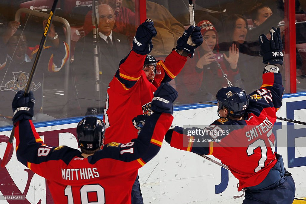 Mike Santorelli #13 of the Florida Panthers celebrates his goal with teammates against the Winnipeg Jets at the BB&T Center on March 5, 2013 in Sunrise, Florida.