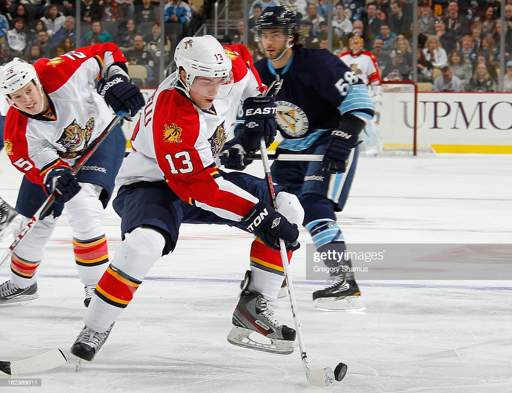 Mike Santorelli #13 of the Florida Panthers controls the puck during the first period against the Pittsburgh Penguins on February 22, 2013 at Consol Energy Center in Pittsburgh, Pennsylvania.
