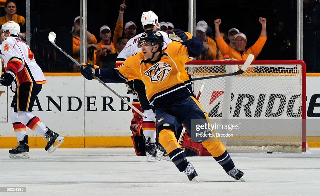 <a gi-track='captionPersonalityLinkClicked' href=/galleries/search?phrase=Mike+Santorelli&family=editorial&specificpeople=4517042 ng-click='$event.stopPropagation()'>Mike Santorelli</a> #10 of the Nashville Predators reacts after a Predators goal against the Calgary Flames during the first period at Bridgestone Arena on March 29, 2015 in Nashville, Tennessee.