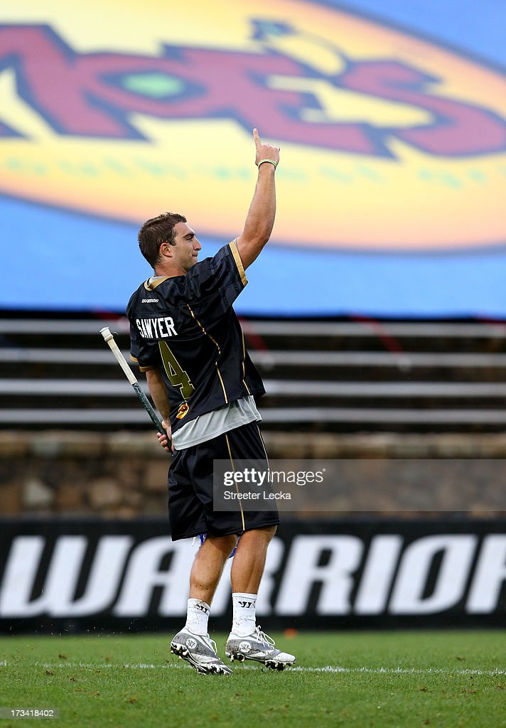 Mike Sawyer #4 of Eclipse reacts after a shot during the Skills Competition at the 2013 Major League Lacrosse All Star Game at American Legion Memorial Stadium on July 13, 2013 in Charlotte, North Carolina.