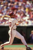 Mike Schmidt of the Philadelphia Phillies bats during a baseball game against the Cincinnati Reds on April 30 1989 at Veterans Stadium in...