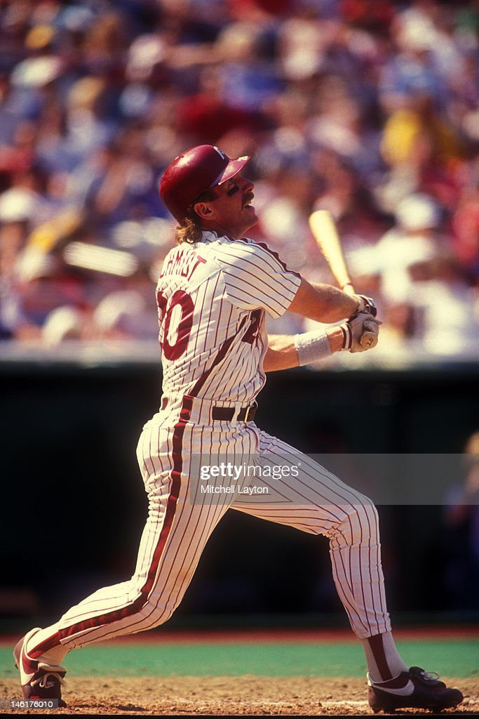 <a gi-track='captionPersonalityLinkClicked' href=/galleries/search?phrase=Mike+Schmidt+-+Baseball+Player&family=editorial&specificpeople=204523 ng-click='$event.stopPropagation()'>Mike Schmidt</a> #20 of the Philadelphia Phillies pitches during a baseball game against the Los Angeles Dodgers on June 1, 1988 at Veterans Stadium in Philadelphia, Pennsylvania.