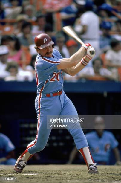 Mike Schmidt of the Philadelphia Phillies swings at a pitch during a game circa 197289 against the New York Mets at Shea Stadium in Flushing New York