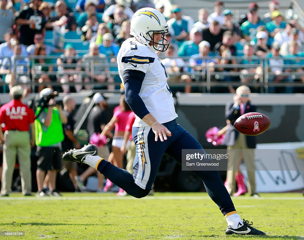 Mike Scifres #5 of the San Diego Chargers punts during the game against the Jacksonville Jaguars at EverBank Field on October 20, 2013 in Jacksonville, Florida.