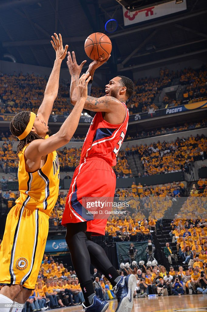 Mike Scott #32 of the Atlanta Hawks shoots against the Indiana Pacers in Game Seven of the Eastern Conference Quarterfinals during the 2014 NBA Playoffs on May 3, 2014 at Bankers Life Fieldhouse in Indianapolis, Indiana.