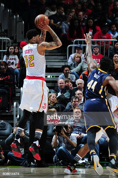 Mike Scott of the Atlanta Hawks shoots the ball against the Indiana Pacers on February 5 2016 at Philips Arena in Atlanta Georgia NOTE TO USER User...