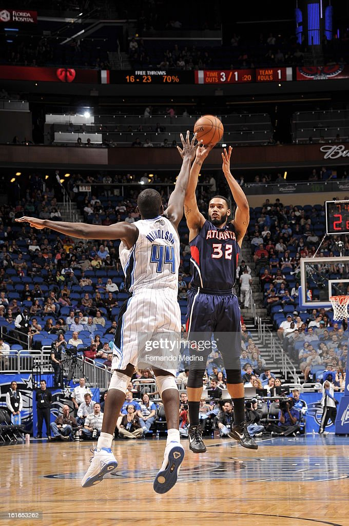 Mike Scott #32 of the Atlanta Hawks shoots the ball against the Orlando Magic during the game on February 13, 2013 at Amway Center in Orlando, Florida.