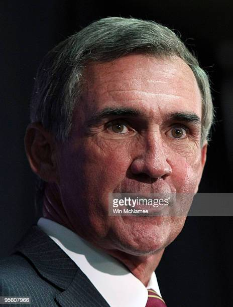 Mike Shanahan answers questions at a press conference where he was introduced as the new head coach of the Washington Redskins on January 6 2010 in...