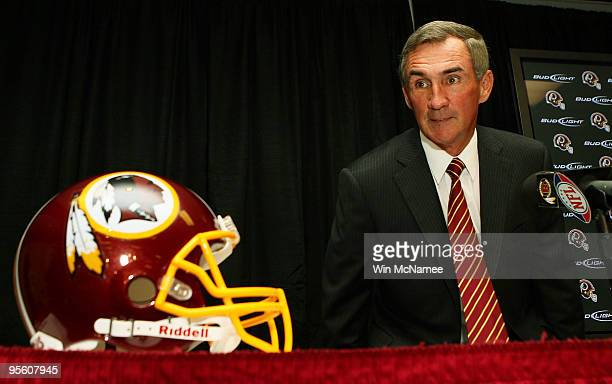 Mike Shanahan arrives at a press conference to be introduced as the new head coach of the Washington Redskins on January 6 2010 in Ashburn Virginia...