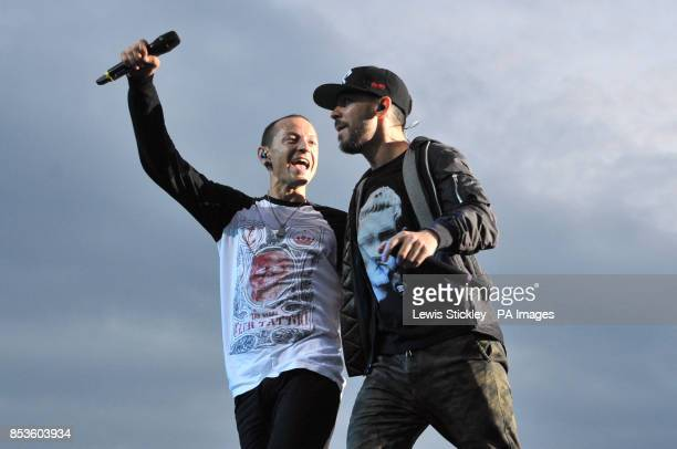 Mike Shinoda and Chester Bennington of Linkin Park perform during day two of the 2014 Download Festival at Donington Park
