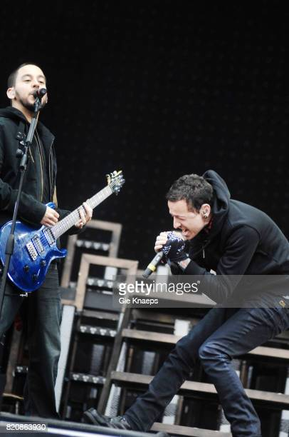 Mike Shinoda and Chester Bennington performing with American rock group Linkin Park at the Pinkpop Festival Landgraaf Netherlands 27th May 2007