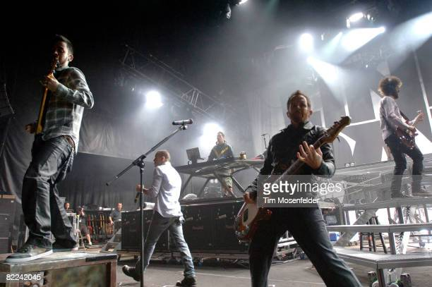 Mike Shinoda Chester Bennington Joe Hahn Dave 'Phoenix' Farrell and Brad Delson of Linkin Park perform as part of the Projekt Revolution Tour 2008 at...