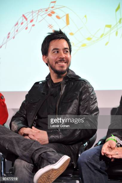Mike Shinoda of Linkin Park attends the Google and MySpace Invite You To Discover Music Press Conference at Capitol Records Studio on October 28 2009...