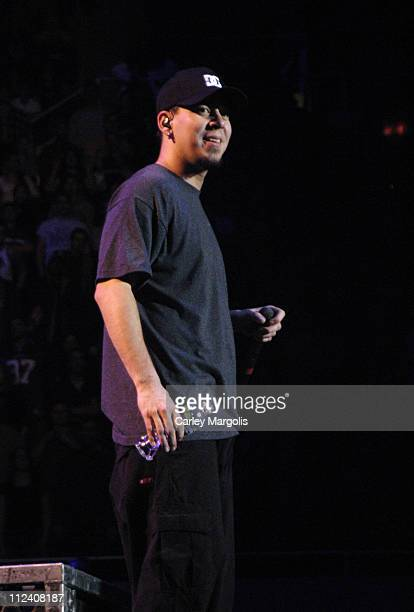 Mike Shinoda of Linkin Park during Linkin Park Meteora World Tour 2004 New York at Nassau Coliseum in Uniondale New York United States