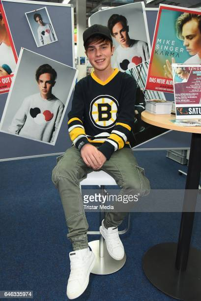 Mike Singer promotes his new CD 'Karma' at an autograph session at Saturn Elbepark on February 28 2017 in Hamburg Germany