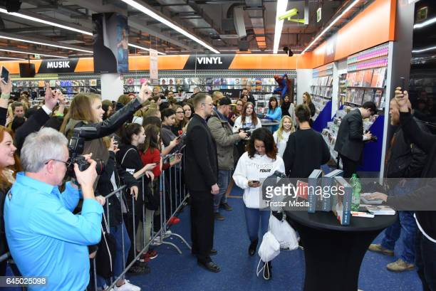 Mike Singer speaks with fans during his visit to radio station 936 JAM FM Radio on February 24 2017 in Berlin Germany