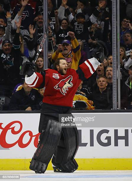 Mike Smith of the Arizona Coyotes celebrates his shot during the Honda NHL Four Line Challenge as part of the 2017 Coors Light NHL AllStar Skills...
