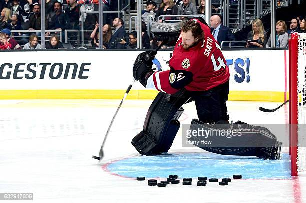 Mike Smith of the Arizona Coyotes competes in the Gatorade NHL Skills Challenge Relay during the 2017 Coors Light NHL AllStar Skills Competition as...