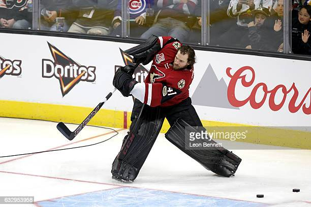 Mike Smith of the Arizona Coyotes competes in the Honda NHL Four Line Challenge during the 2017 Coors Light NHL AllStar Skills Competition as part of...