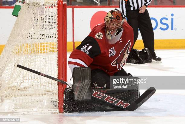 Mike Smith of the Arizona Coyotes gets ready to make a save against the St Louis Blues at Gila River Arena on March 18 2017 in Glendale Arizona