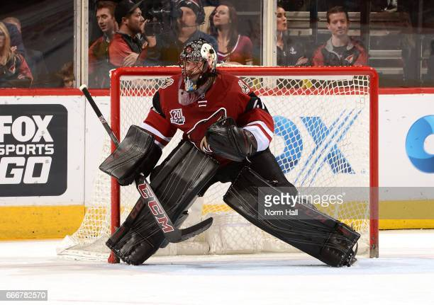 Mike Smith of the Arizona Coyotes gets ready to make a save against the Minnesota Wild at Gila River Arena on April 8 2017 in Glendale Arizona