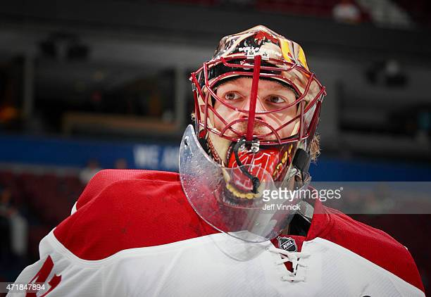 Mike Smith of the Arizona Coyotes looks on from his crease during their NHL game against the Vancouver Canucks at Rogers Arena April 9 2015 in...